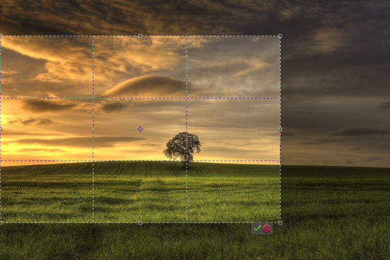 A screenshot of the process of cropping a landscape image