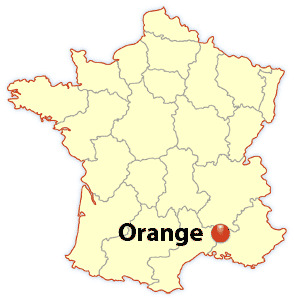 orange france, orange location map