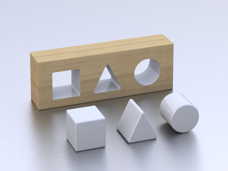 Geometric forms on white ground, 3D Rendering