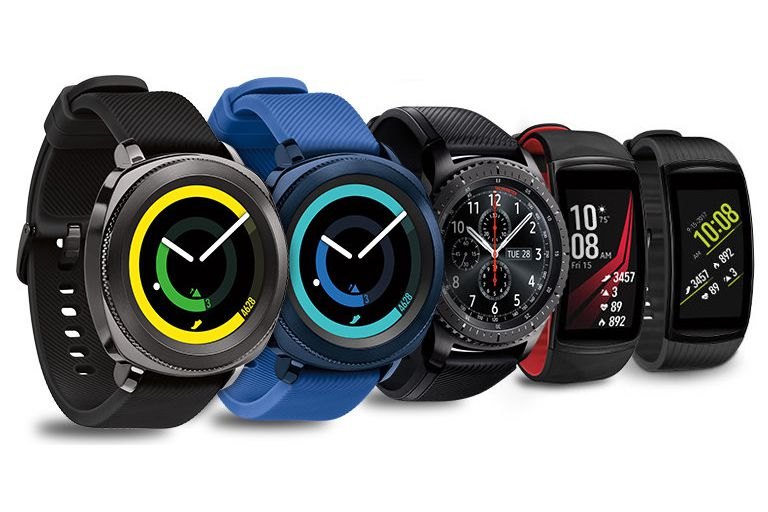A lineup of Samsung Gear smartwatches