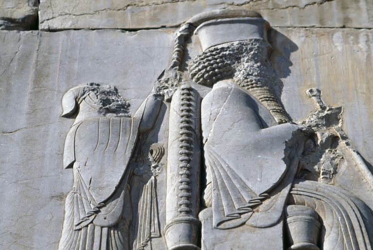 King Darius I, bas-relief, Persepolis (Unesco World Heritage List, 1979), Iran, Achaemenid civilization, 6th-5th century BC, detail