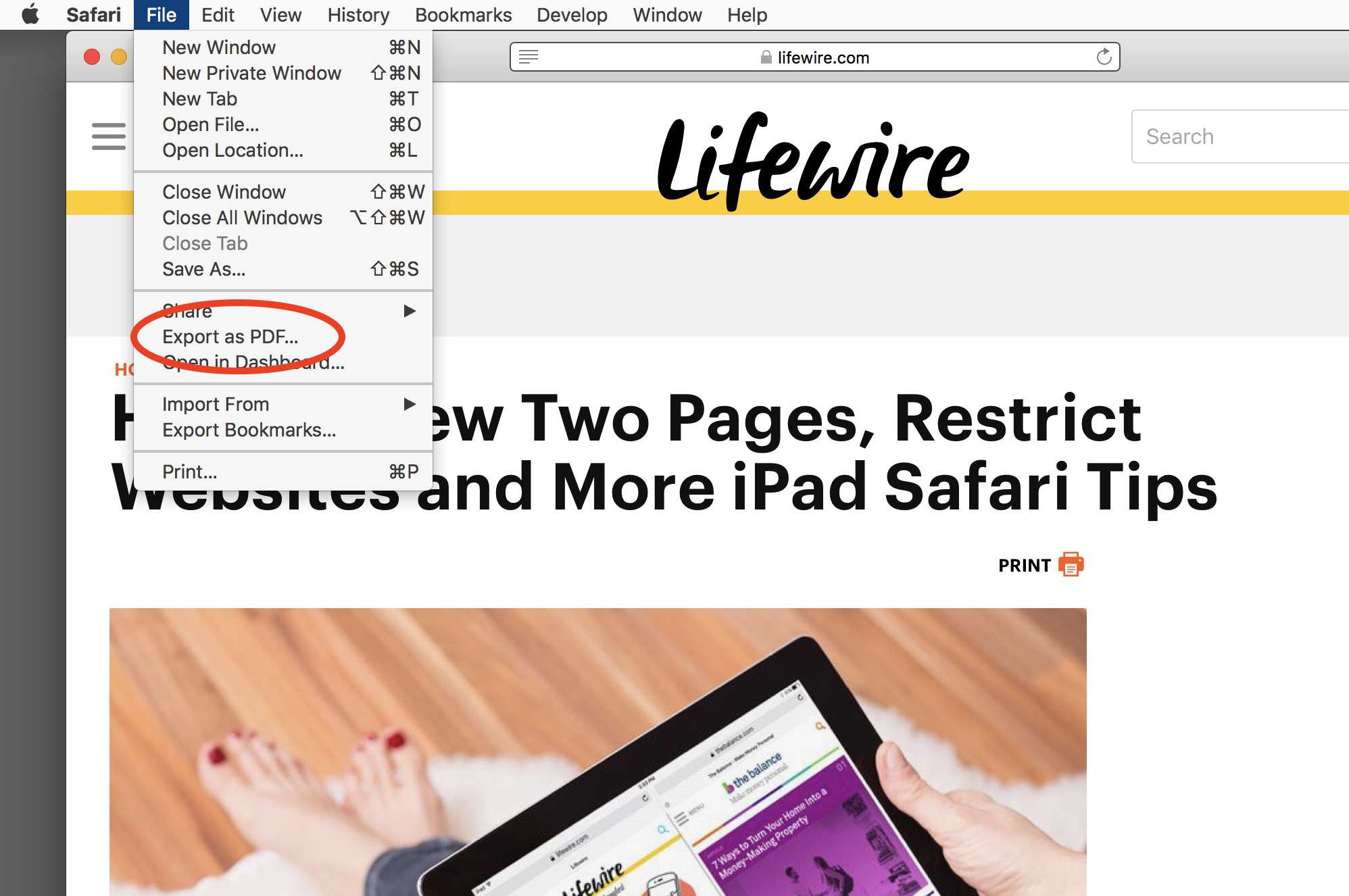 Export to save a web page as a PDF