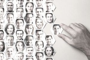 Grid of hexagonal portraits, hand adding new one