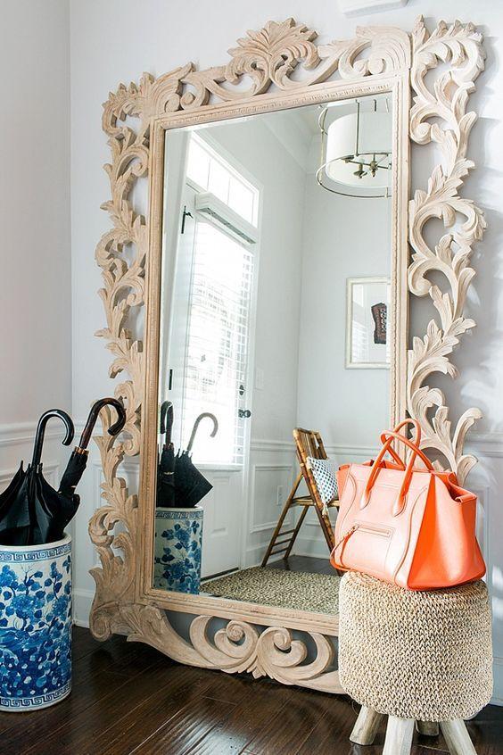 Oversized floor length mirror with ornamental frame