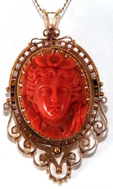 Coral Cameo Pendant Set in 14K Gold - Chic Antiques by Pamela Wiggins