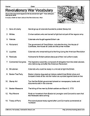 Revolutionary War Study Sheet