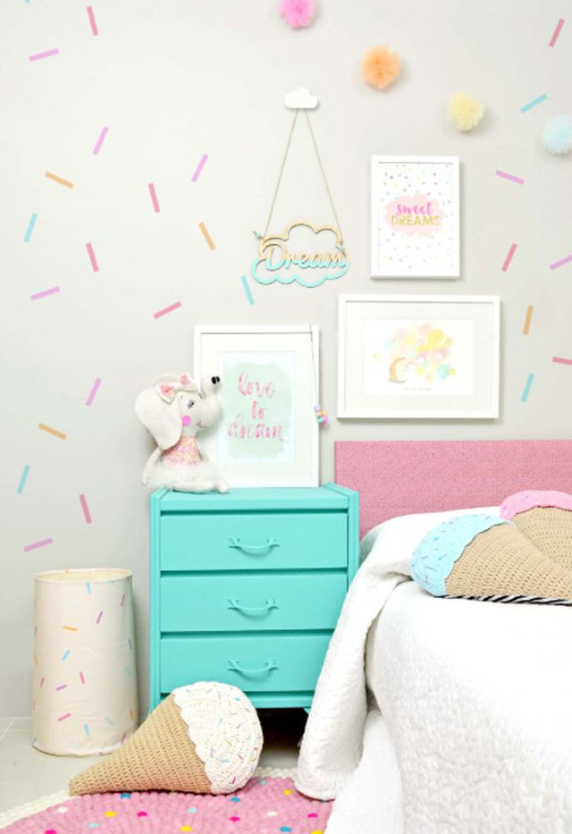 Sweet Treat Themed Girls Room With Washi Tape Wall Decor