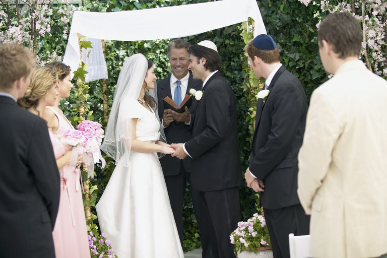 Jewish wedding ceremony with chuppah