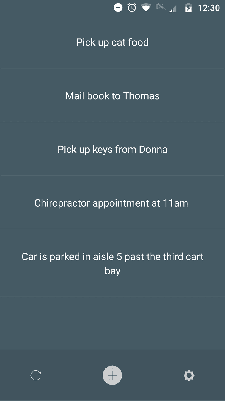 Screenshot of a to-do list in Memory Helper app.