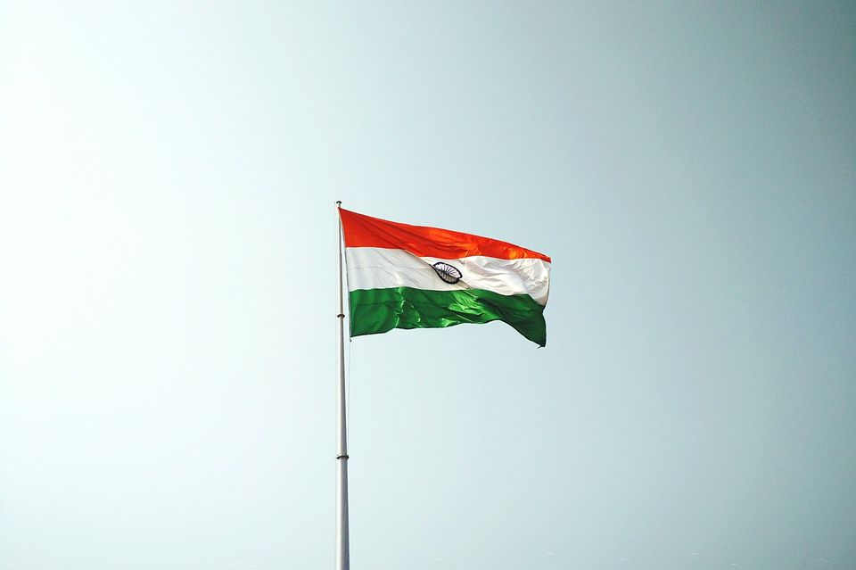 Low Angle View Of The Flag Of India Against Clear Sky