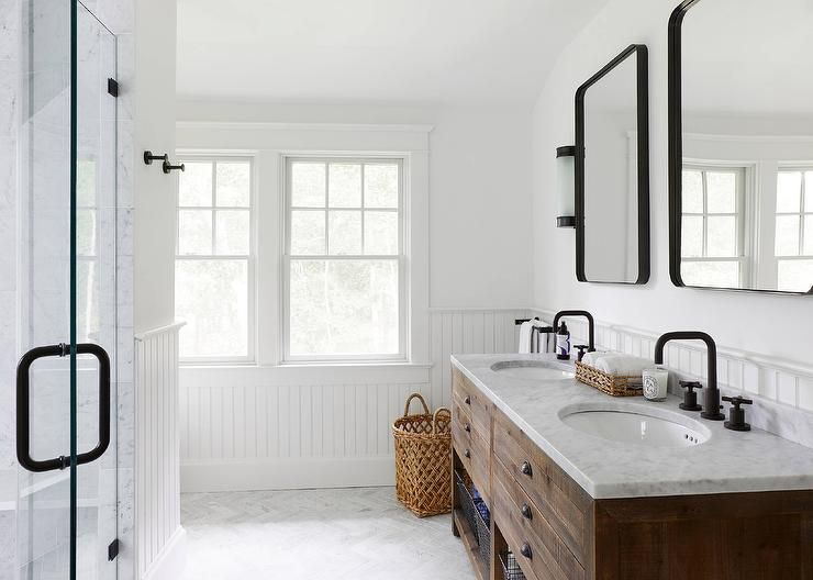 Modern Farmhouse Bathroom With A Touch Of Industrial