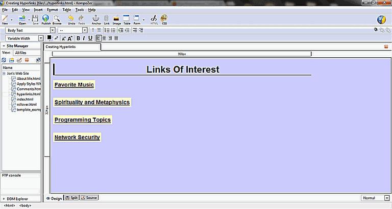 Getting Started with Hyperlinks in Kompozer