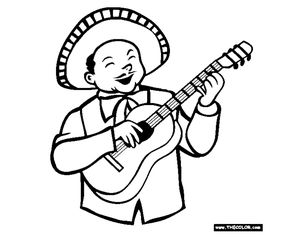 A mariachi singer playing a guitar