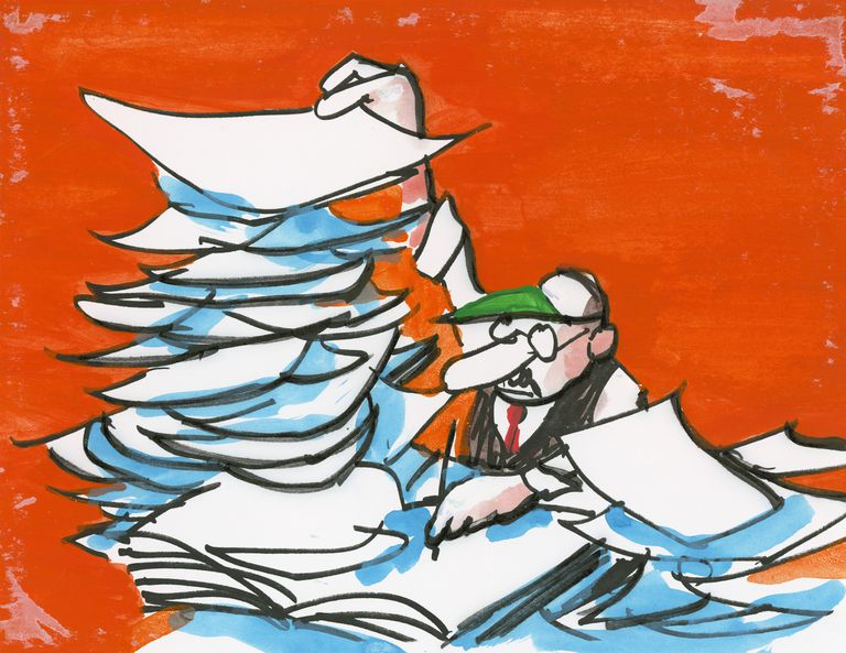 Cartoon drawing of man with stacks of paperwork