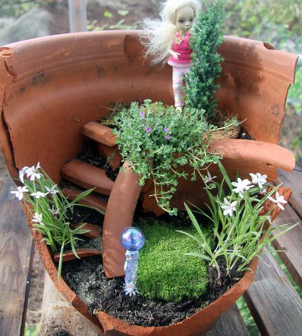 Fairy Garden Flower Pots Make a miniature garden landscape in a broken plant pot recycle cast off junk into dollhouse or fairy garden miniatures workwithnaturefo