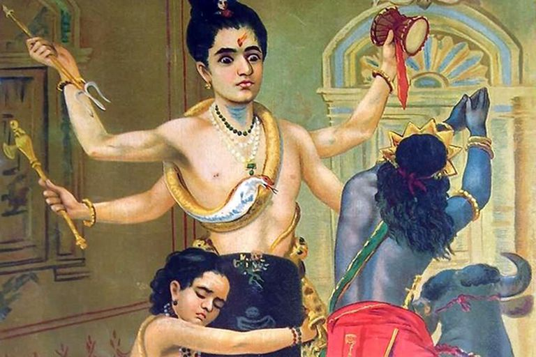 The powerful ascetic Shiva defends his devotee Markandeya from Yama, the god of death, First printed by Ravi Varma Press in 191