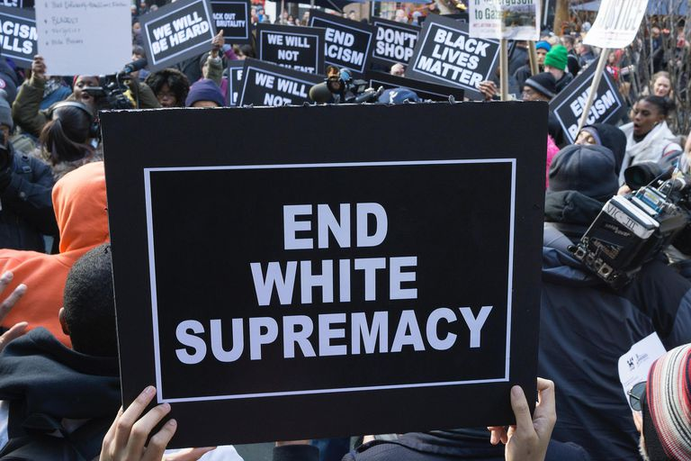 """The phrase """"end white supremacy"""" is an anti-racist racial project that describes society as racially stratified with whites at the top, and characterizes this as wrong."""