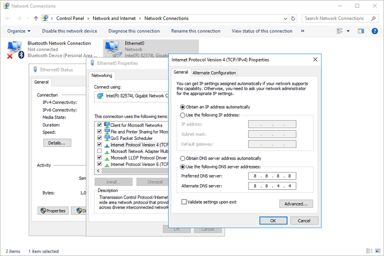 Screenshot showing how to change the DNS server settings in Windows 10