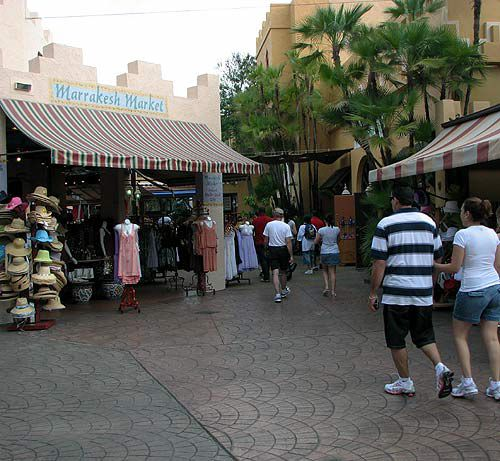 The entrance to the park looks like an African village, complete with market stalls.