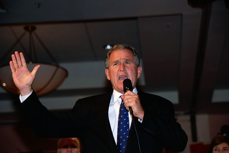 George W. Bush Speaking at Presidential Rally.
