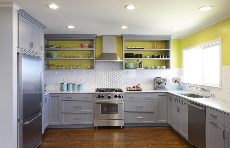 acid yellow and gray kitchen