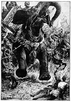 Alexander the Great met the Indian king Porus, with his war elephants.