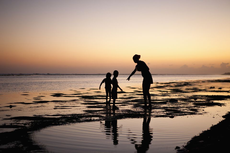 mother and 2 children explore the low tide pools