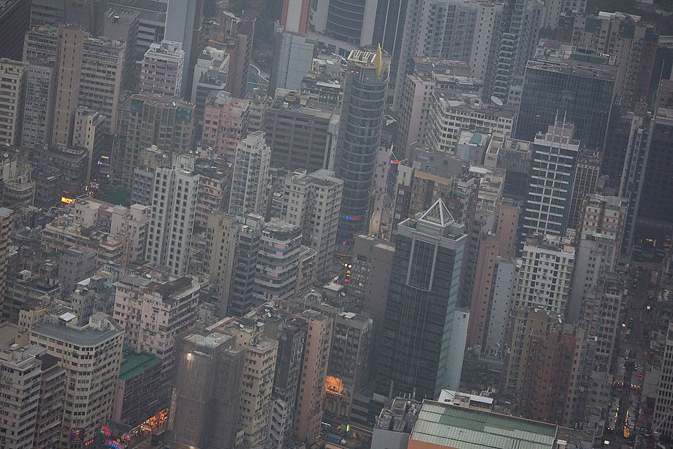 The skyline is packed by blocks of high-rises on February 19, 2013 in Hong Kong. One of the most densely populated countries in the world is Hong Kong, with a population of over 7.1 million inhabitants in an area of 1100 square kilometres.