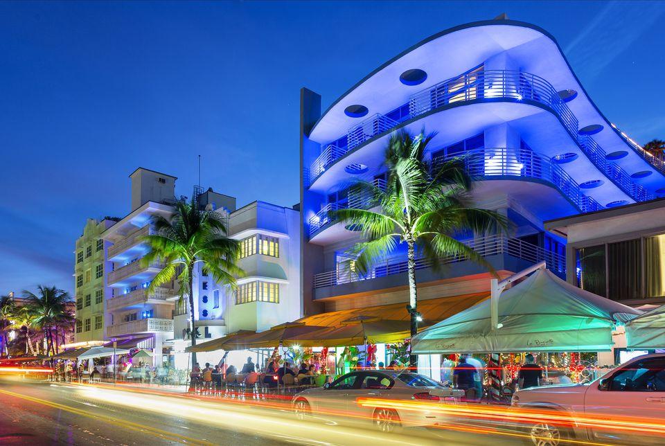 Neon lights on Ocean Drive
