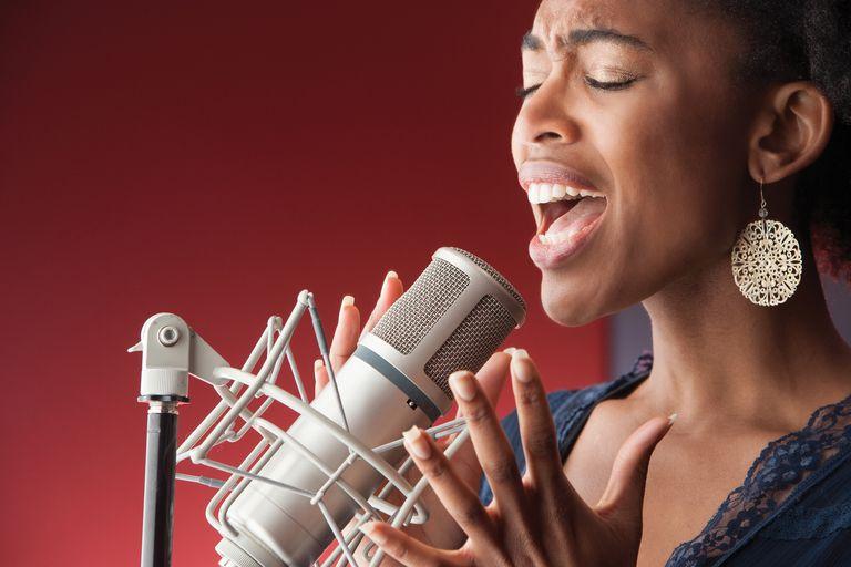 Female Singer Recording Vocals