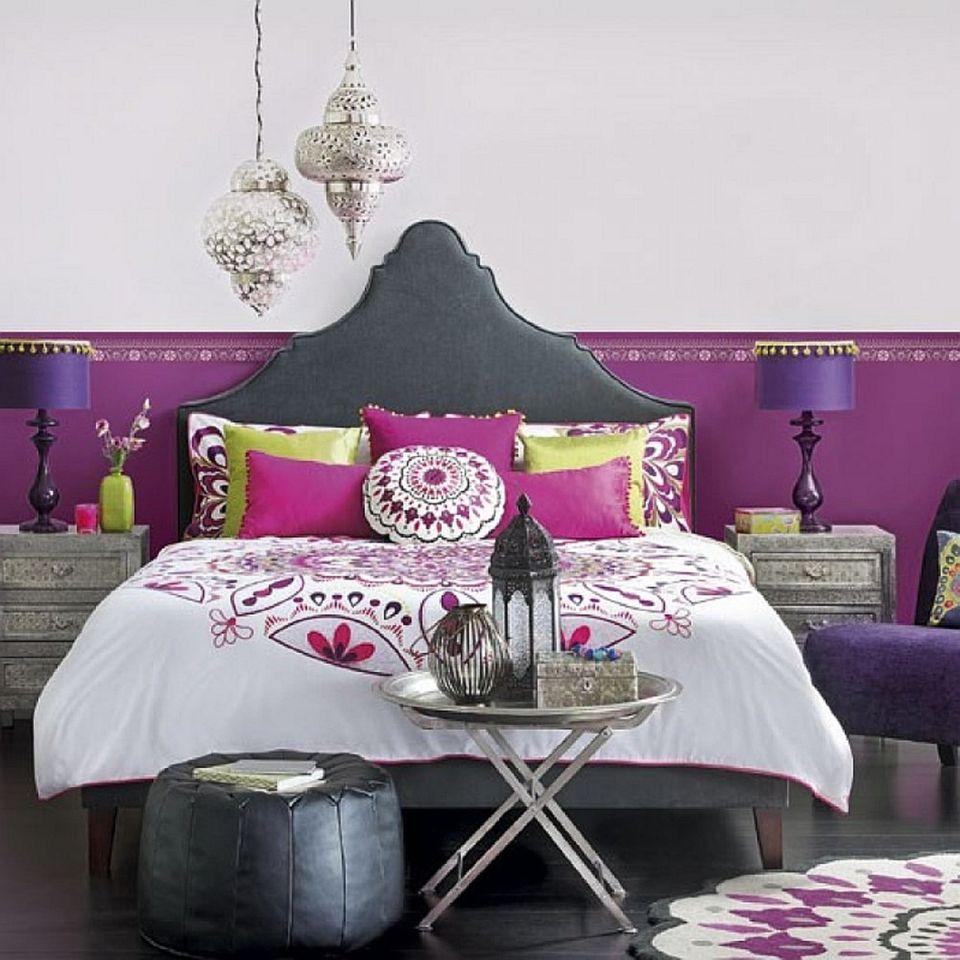 Purple and silver boho bedroom.