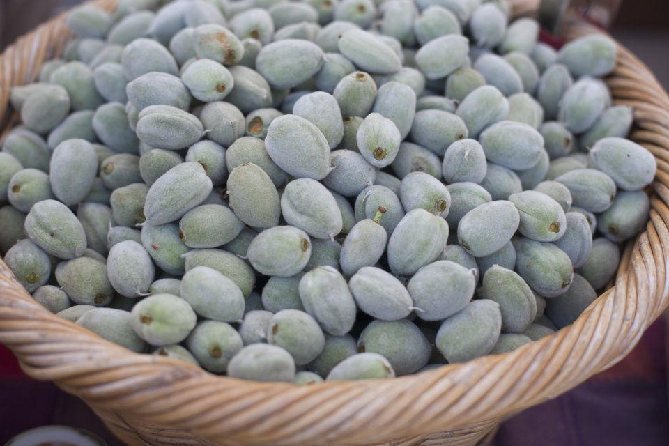 Basket of Green Almonds