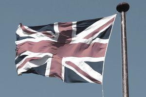 Union Jack flying against blue sky