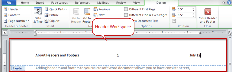 how to make the page number appear in ms word