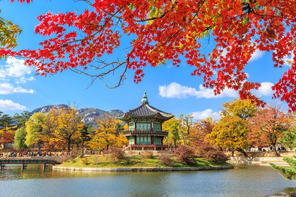 The pavilion at the Gyeongbokgung Palace.