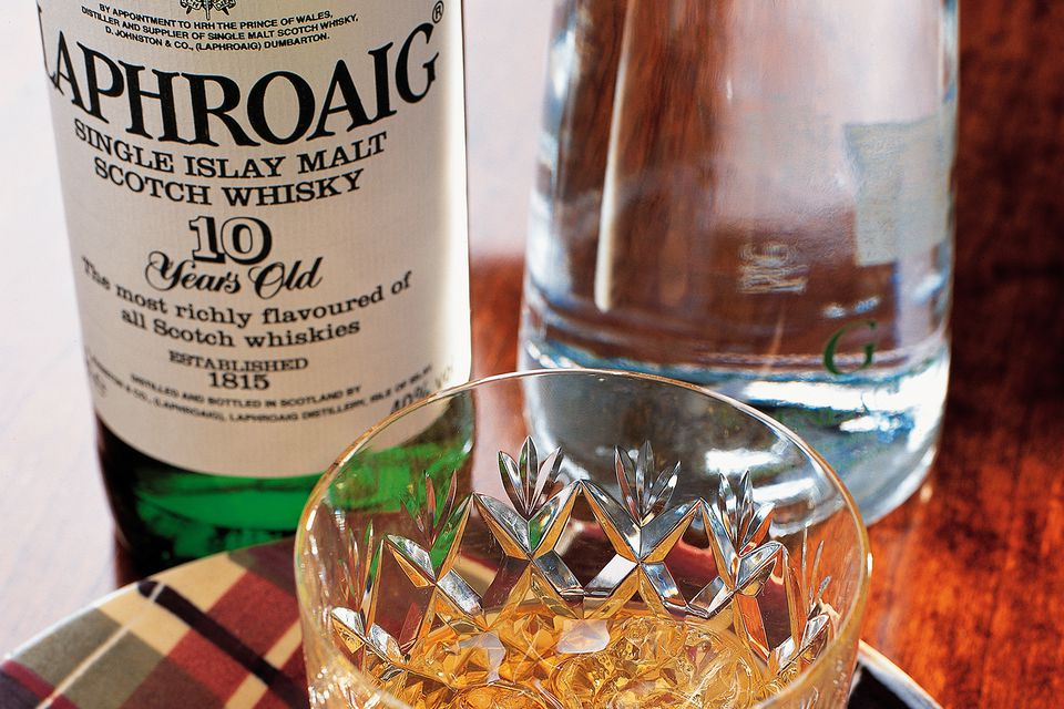 Laphroaig Single Malt Scotch with oat cakes.