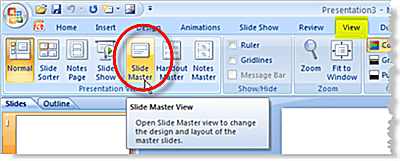 Open the slide master in PowerPoint 2007