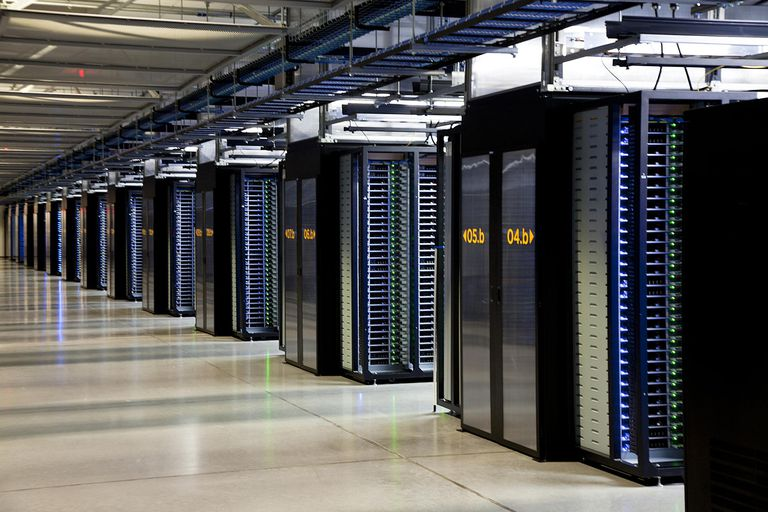 Photo of a server room located in a Facebook data center in Oregon