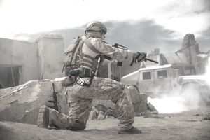 US Marine stands guard.