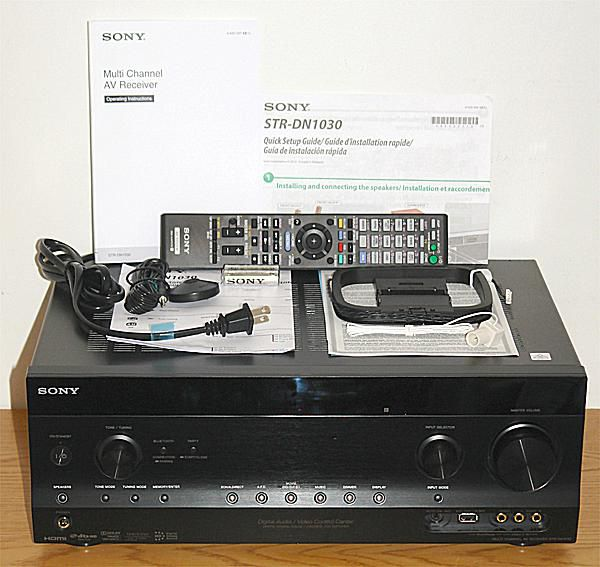 Sony STR-DN1030 Network Home Theater Receiver - Photo - Front View with Included Accessories