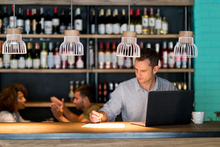 Bookkeeper working at a restaurant
