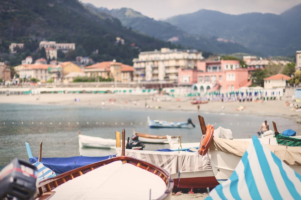 Some boats sitting on a beach in Levanto, the Tuscany, Italy.