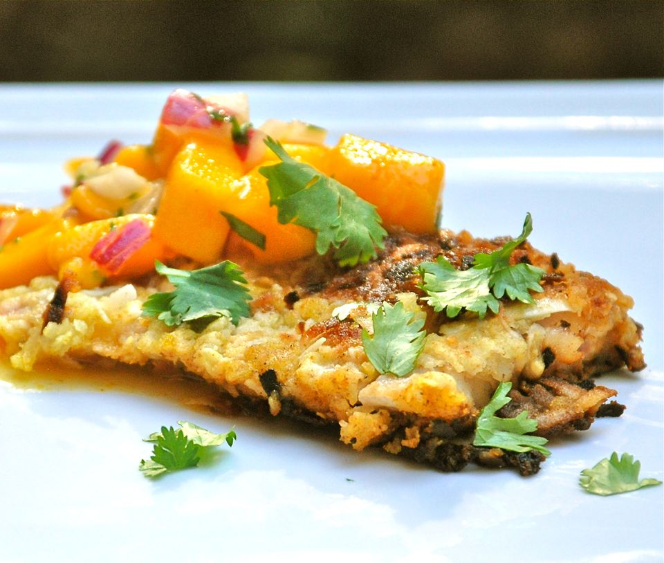 Coconut Crusted Fish Fillets With Mango Salsa Recipe