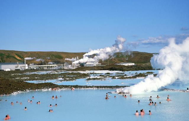 'People bathing in The Blue Lagoon, Iceland