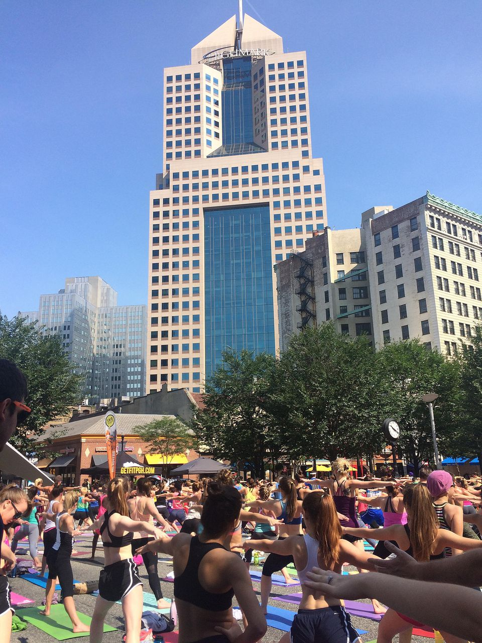 A yoga class in Pittsburgh's Market Square
