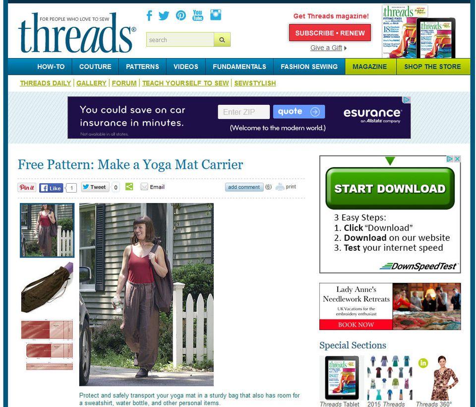 Free yoga mat bag sewing patterns threads yoga bag jeuxipadfo Image collections