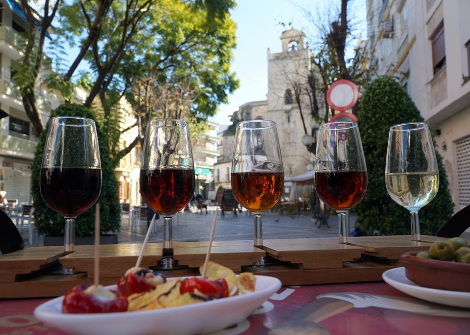 Tasting five different sherries, with tapas
