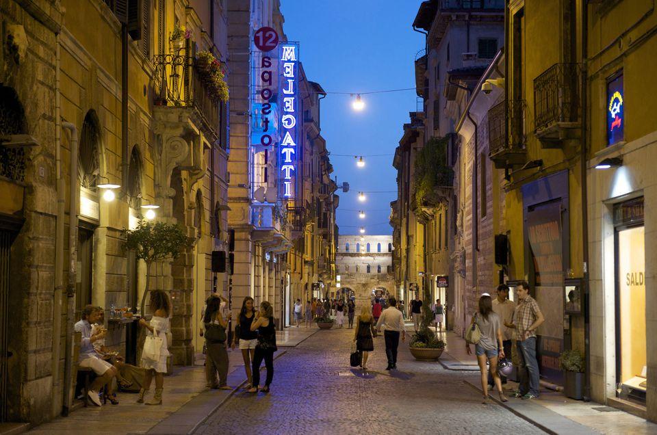 People walking in the evening in Verona