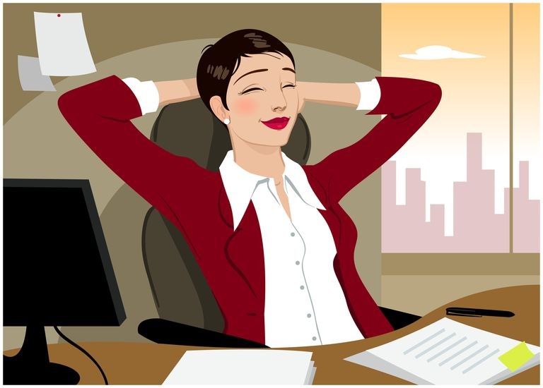 Businesswoman sitting with hands behind head, eyes closed