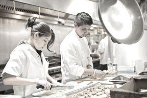 Chefs prepare appetizers